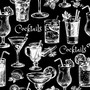 Sketched Cocktail Pattern Wallpaper