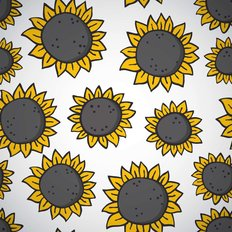Hand Drawn Sunflower Pattern Wallpaper