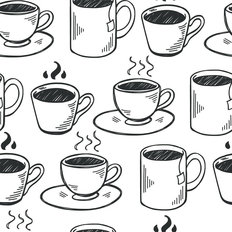 Hand Drawn Tea And Coffee Cups Wallpaper