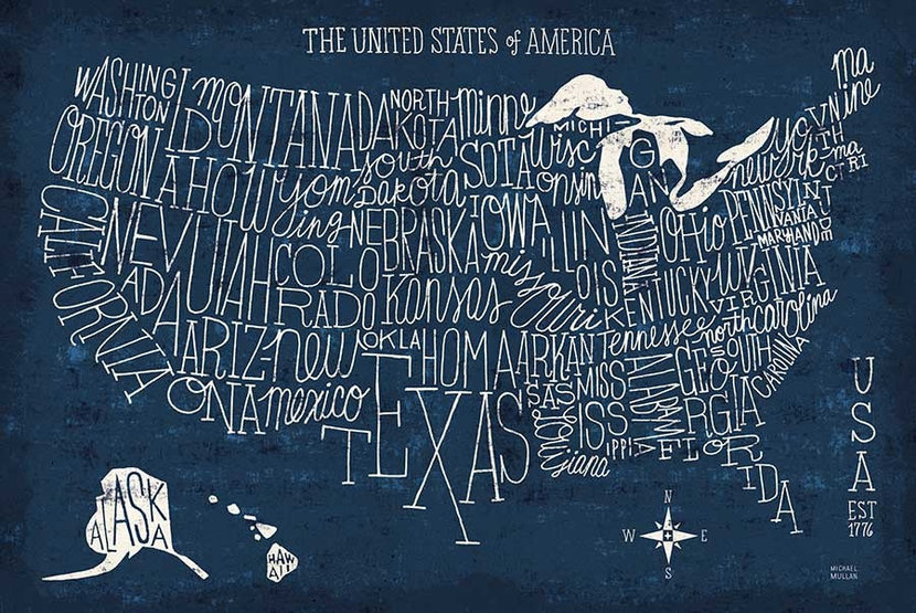 Hand Lettered USA Map Wall Mural