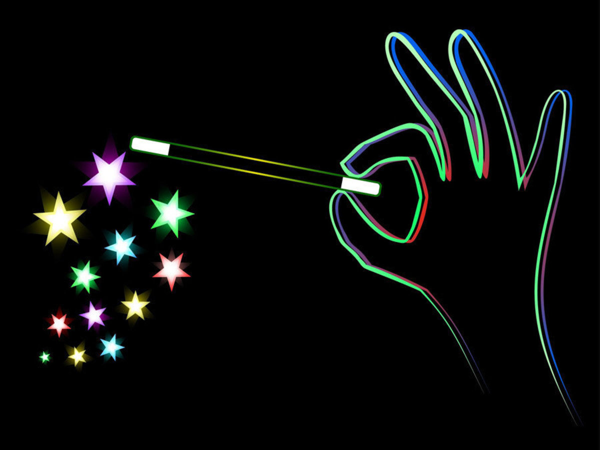 Portrayed in a neon sign style, a hand holding a magic wand performs a trick
