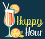 Happy Hour illustration is of a cocktail with colorful fruit wedges and two white straws