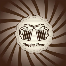 Happy Hour Illustration Wall Mural