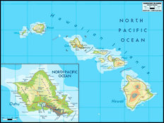 Hawaiian Islands Map Mural Wallpaper