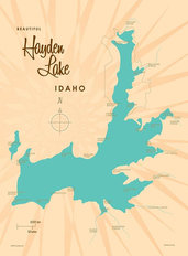 Hayden Lake, ID Lake Map Wallpaper Mural
