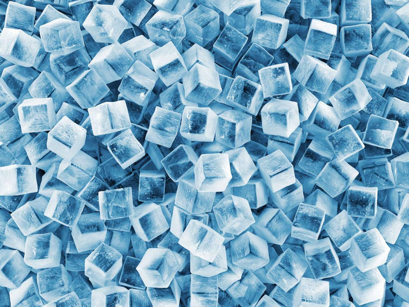 Chilled cubes of ice pile atop one another