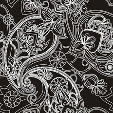 Henna Paisley - Black And White Wallpaper