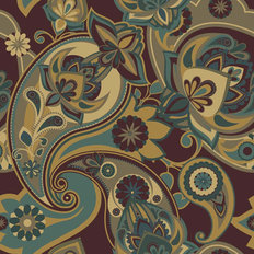 Henna Paisley - Plum Wallpaper