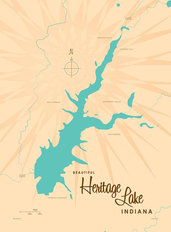 Heritage Lake, IN Lake Map Wall Mural