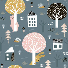 Hide And Seek Critters Pattern Wallpaper Mural