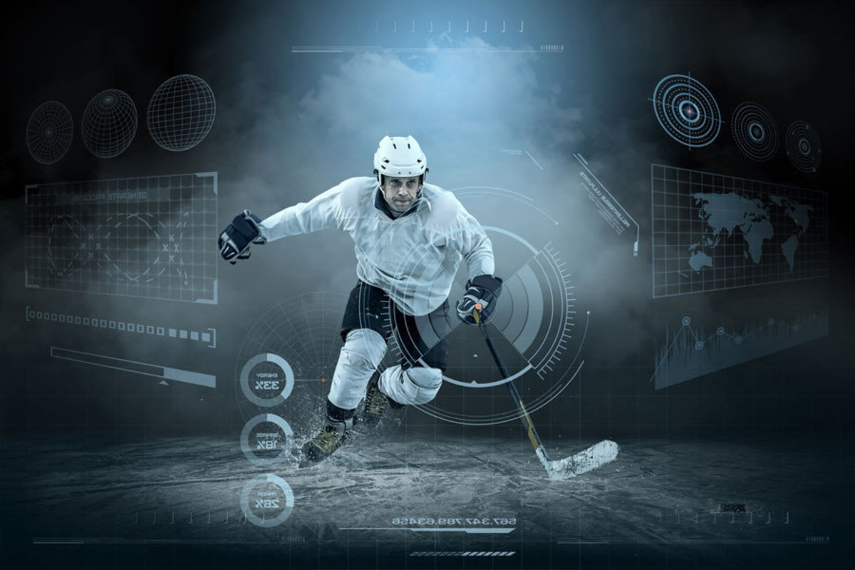 Hockey Player Statistics Mural Wallpaper
