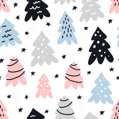 Holiday Tree Pattern Wallpaper Mural