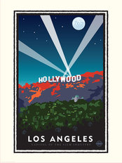 Hollywood Sign At Night Wallpaper Mural
