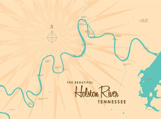 Holston River, TN Lake Map Wall Mural