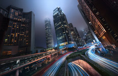 Hong Kong City Lights Mural Wallpaper
