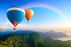 Hot-Air Balloons With Rainbow Wall Mural