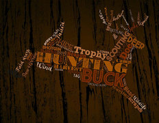 Hunting Word Cloud - Brown Wall Mural
