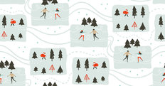 Ice Skating Couple Pattern Wallpaper Mural