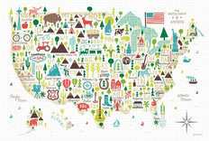 Illustrated USA Map Wall Mural