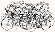 Cycling Race Illustration Wallpaper Mural