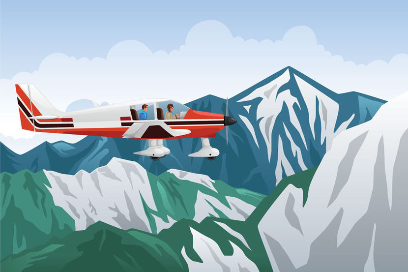 Airplane Over Mountains Illustration Mural Wallpaper