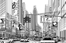 Illustration Of Street In New York City Wall Mural
