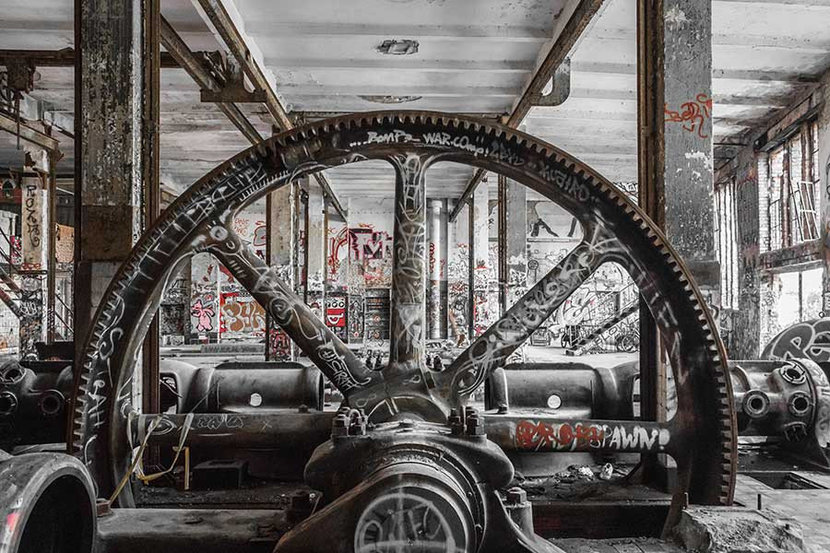 Industrial Machinery In Abandoned Factory Wall Mural