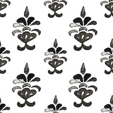 Damask Ink Pattern Wallpaper