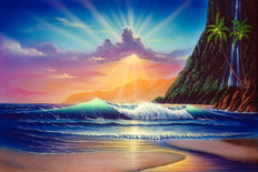 Island Sunrise Mural Wallpaper