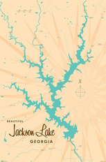 Jackson Lake, GA Lake Map Mural Wallpaper
