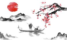 Japan Traditional Sumi-e Painting Wall Mural