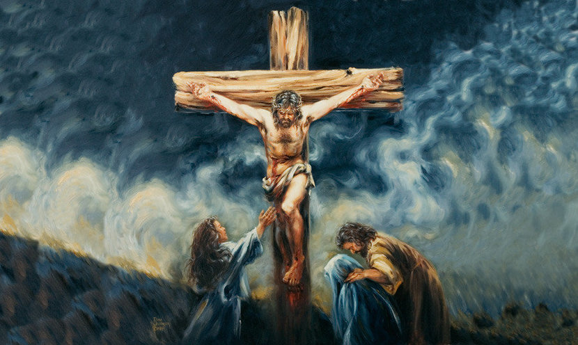 Good Friday image of the crucifixion of Jesus nailed to the cross with Mary Magdale, Jesus Mother, and his disciple John