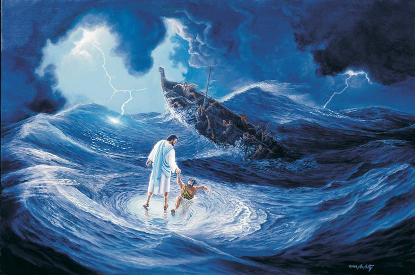 Jesus On The Water Wall Mural