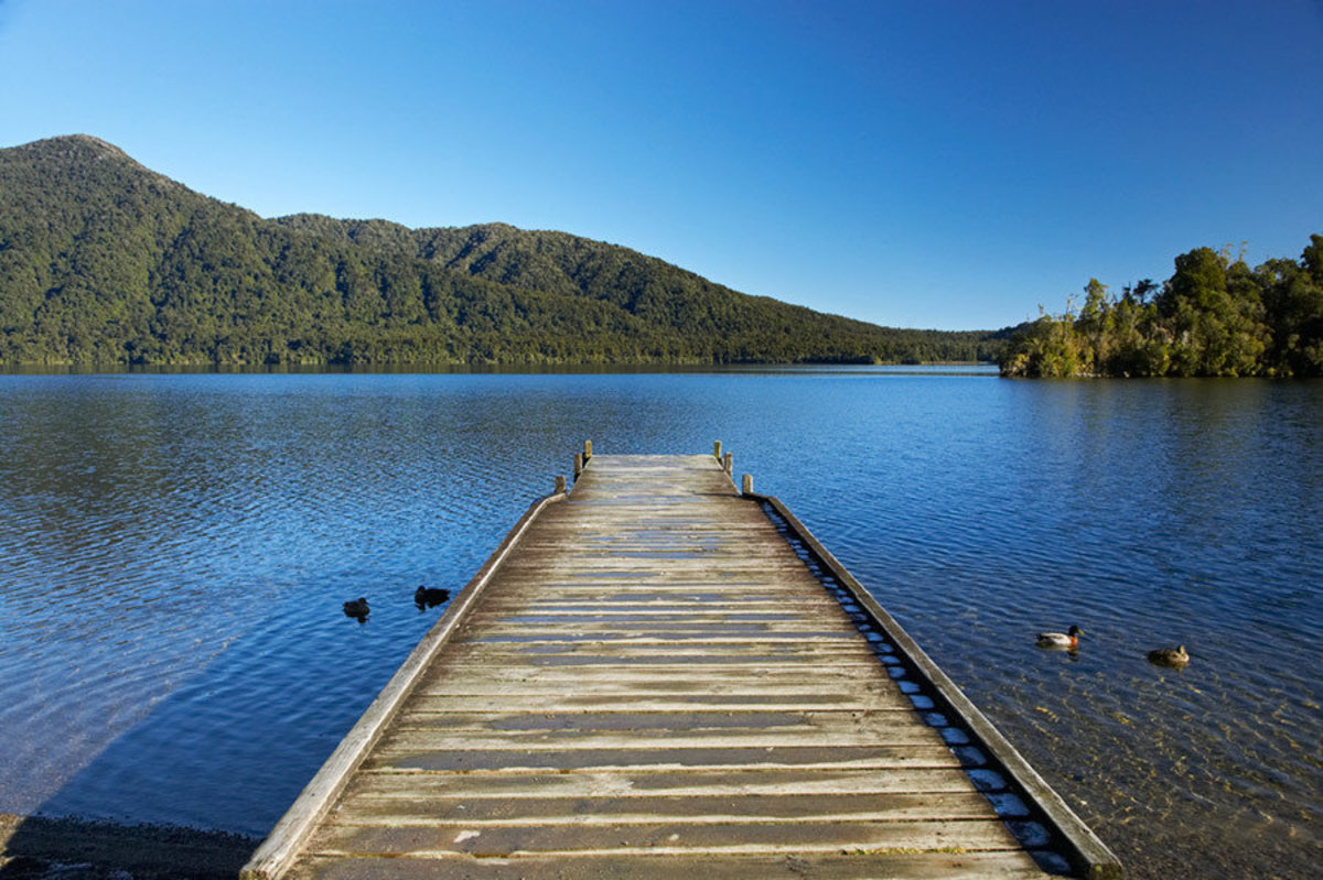 Jetty, Lake Kaniere Mural Wallpaper