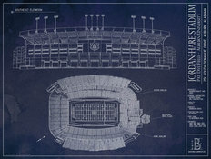 Jordan-Hare Stadium Blueprint Wallpaper Mural