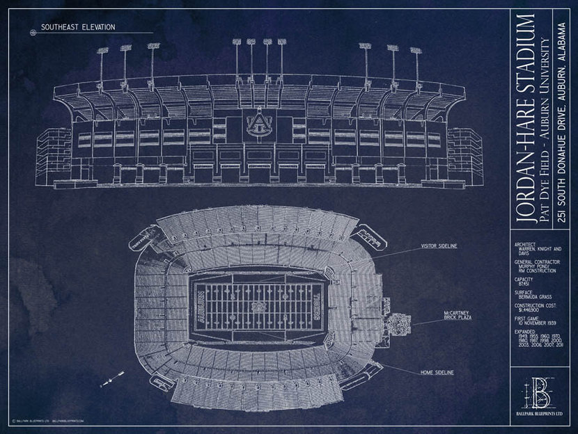 Jordan Hare Stadium blueprint wallpaper with architectural drawings and notes