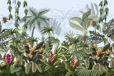 Jungle Trees And Flowers Wall Mural