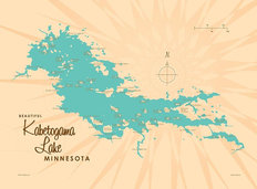 Kabetogama Lake, MN Lake Map Mural Wallpaper