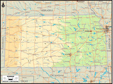 Kansas Map Wallpaper Mural