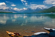 Kayaks At Lake McDonald, Glacier National Park, MT Wall Mural
