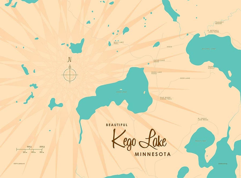 Kego Lake, MN Lake Map Wallpaper Mural