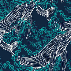 Kelp Whale Pattern Wallpaper