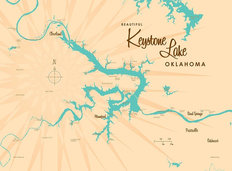 Keystone Lake, OK Lake Map Mural Wallpaper