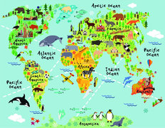Kids Animal World Map Wall Mural