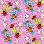 Ladybugs and Flowers  Mural Wallpaper