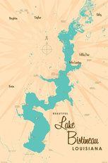 Lake Bistineau, LA Lake Map Wall Mural