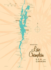 Lake Champlain, NY Lake Map Wallpaper Mural