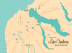 Lake Charlevoix, MI Lake Map Wallpaper Mural