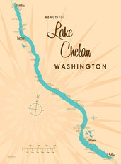 Lake Chelan, WA Lake Map  Mural Wallpaper