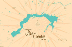 Lake Cherokee, TX Lake Map Mural Wallpaper
